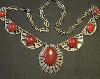 Silver Plated Art Deco Sunburst Necklace with Carnelian Czech Glass Cabochons