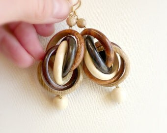 Multicircle wood earrings , Eco wooden jewelry ,Handmade gift idea for her , Nature lover statement chunky dangle earrings