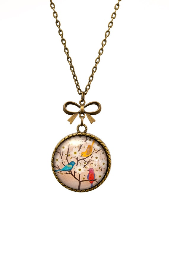 FREE SHIPPING - **NEW** Birds and Blossoms 30mm Bronze Lace & Bow Pendant Necklace - Unique - Vintage - Gorgeous Gift - Love