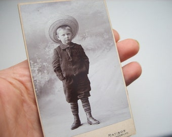 Boy in sombrero Antique old Cabinet Portrait CDV Vintage Photo Collage Upcycle Recycle photograph family portrait