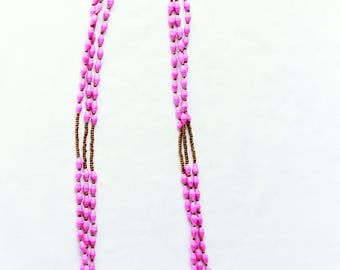 Hot pink African multi-strand beaded necklace