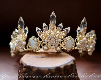Woodland Princess Gold  Wedding hair crown , Crystal Crown , Gold bridal Tiara , Wedding crown, Gothic Tiara, Evil Queen crown with Earring