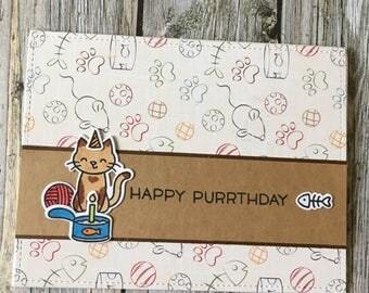 Happy Purrthday card-Cat happy birthday card-Kitty happy birthday card-Cat birthday card-kitty birthday card-Cat lover card