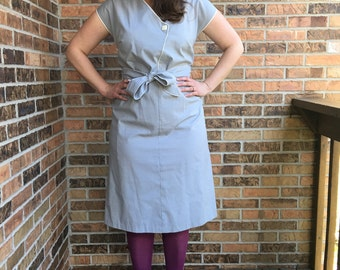 1980s Faux Wrap Dress in Pale Grey
