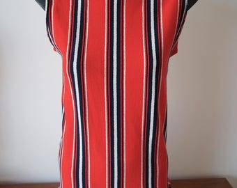 Mod 60's fitted sleeveless top striped red white blue S