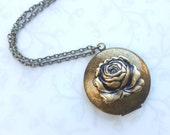 Rose Locket Necklace Antiqued Gold Brass, Beauty and the Beast, Tale as Old as Time, Photo Locket, Hidden Message, Woodland Boho Picture
