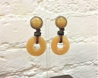 Huge Statement Earrings Signed Les Bernard 70s Rare Designer Clip Ons Yellow Plastic Circles Metal Discs Leather Rope Twine Rustic Boho Folk