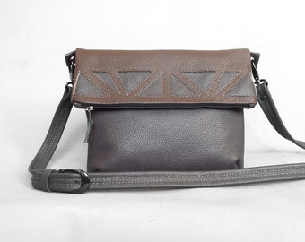 Leather crossbody foldover bag. Gray and brown foldover cross body purse. Leather applique bag.