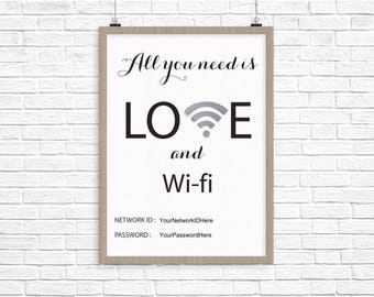 All You Need is Love and WI-FI Print - Instant Download, DIY Print File 8x10