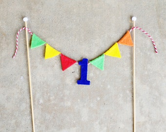 1st Birthday Primary Colors Cake Bunting - Felt Mini Pennant Cake Bunting - First Birthday Cake Topper - Customize
