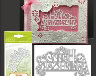 Happy Anniversary words craft die 1248E Tonic metal cutting dies for handmade cards  for use in Cuttlebug,Sizzix, and others