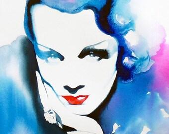 Marlene Dietrich Art Print of Original Watercolour Painting Glamour Portrait 30s Fashion Early Cinema Film Noir Salon Decor, Hair Salon Art