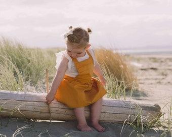 Girls Mustard Pinafore (1 - 5 years) - Made to order - Handmade - Girls Dress - Pinafore - Mustard Pinafore - Mustard Dress - Toddler Dress