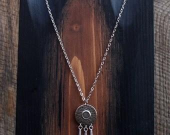 Silver Hammered Disc Feather Necklace, Tribal Jewelry, Boho Jewelry, Southwestern Jewelry