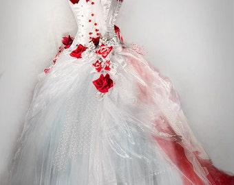 Red rose prom dress