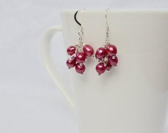 Pink Cluster Earrings, Statement Jewelry, Pink Pearl Earrings, Bridesmaid Earrings,Freshwater Pearl and Swarovski Drop Earrings,Gift for Her