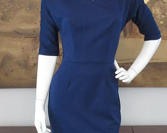 Vintage inspired navy kimono sleeve dress