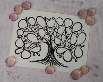"""PRINT Wedding / Engagement / Baby Shower Guest Book Alternative Tree of Life / 27 Signatures / Size 9""""X12"""""""