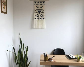 Navy and White Geometric woven wall art tapestry