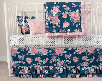 Navy Floral  and Rose Pink Baby Girl Bumperless Crib Cot Set ( 5 pc) - Navy Pink Nursery