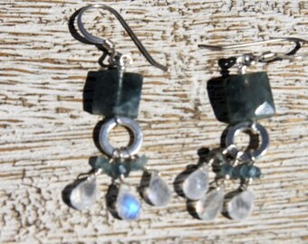 MOSS AQUAMARINE, Rainbow MOONSTONE Earrings. Faceted squares & small faceted briolettes. S.S./ organic/ woodland/ sparkle/ birthstone/ Boho/