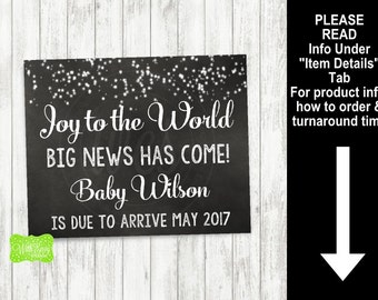Joy to the World Pregnancy Sign - Printable Pregnancy Announcement Sign - Digital Chalkboard Sign - Christmas Sign