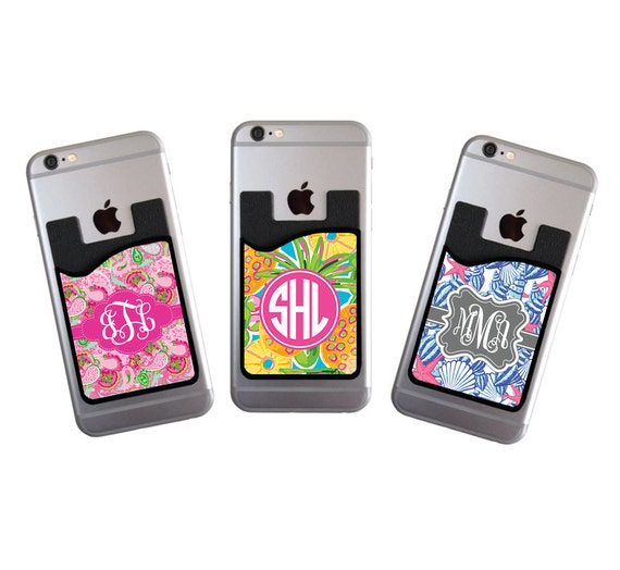 Monogrammed Personalized Gift Cell Phone Card Caddy Phone Wallet Card Holder Custom Monogram ID Credit Card iPhone Bridal Party Gifts