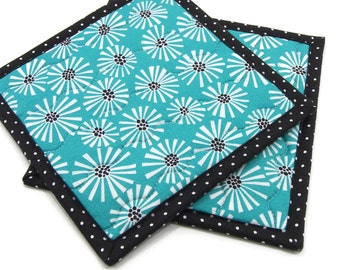 Modern Hot Pads, Quilted Pot Holders - White Flowers on Deep Aqua Green Cotton Fabric Potholders - Hostess Gift, Housewarming Gift