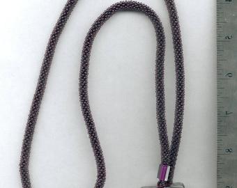 Purple bead crochet with furnace glass toggle