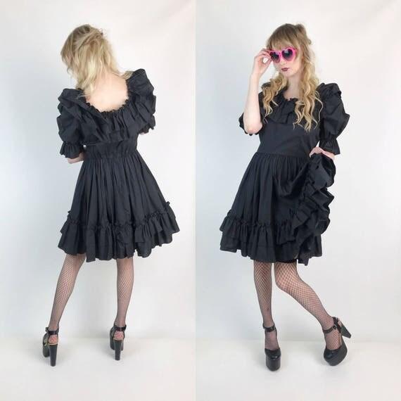 Vintage Black Ruffle Mini Dress Small 6/8 - Ruffle Gothic Lolita Circle Skirt Dress - Romantic Girly Goth Puff Sleeve Solid BLACK Minidress