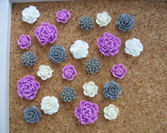 Decorative Push Pins or Magnets, Light Purple, White, and Gray, Cubicle Decor, Fridge Magnets, Desk Accessories, Bulletin Board Tacks