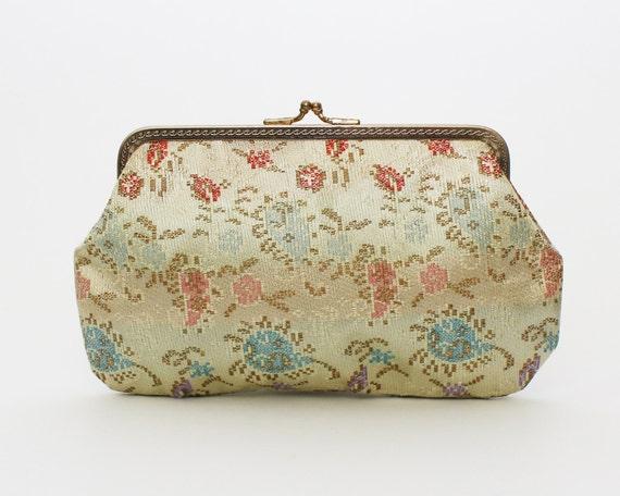 Pastel Floral Evening Bag - Vintage 1950s Clutch and Cigarette Case