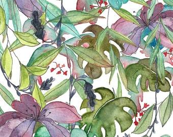 A4 Art Print Illustration, Tropical Jungle, 29,7x21 cm, Watercolor and Pen