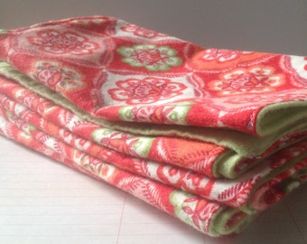 Handcrafted flannel burp cloths *Geometric floral*