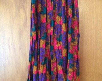 Vintage Women's Venezia Pleated Floral Skirt 26/28 Red Copper Purple Green