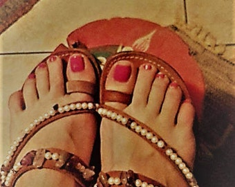 STELLA leather handmade sandals with Semiprecious Stones