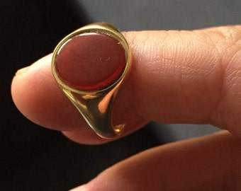 Stunning 18k Gold Carnelian Signet Ring