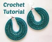 Crochet Pattern Beaded Hoop Earrings, Jewelry Tutorial, PDF Pattern, Earring Tutorial, Crochet Earrings Pattern, Instant Download, Ebook