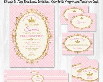 Princess Invitations - Princess Party - Princess Labels - Princess Birthday Invitations - Princess Thank You - Instant Download - Edit NOW!
