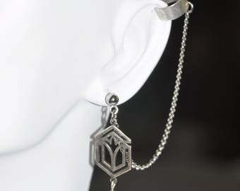 Earrings Silver Cuff Stud Filigree Asian Lotus Gray Grey Smoky Crystal Chain Asymmetrical #A01