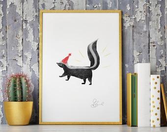 Party Skunk Print
