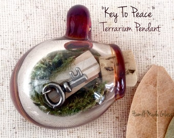 Key To Peace Handblown Terrarium Pendant Or Necklace With Citrine, Peridot, Baltic Amber, Moss, Birch Bark, & Skeleton Key Charm