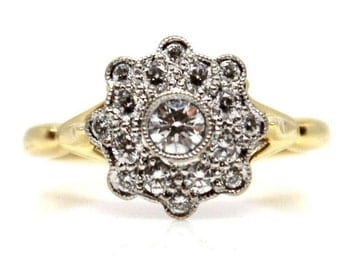 Sale! Antique Flower Diamond Ring in 18k Two-tone Engagement RIng Yellow and White Gold