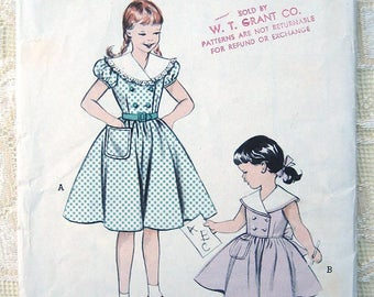 Vintage 50s Girls Easy to make Dress. Butterick 6422 Sewing Pattern. Size 4