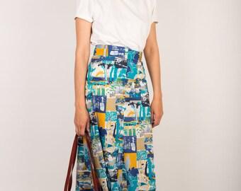 70s Beautiful Cacharel High Waist Long Summer Skirt, Mediterranean Retro Print Skirt, M