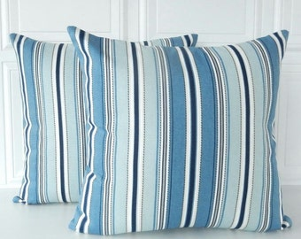Blue Pillow Covers -  SET OF TWO Pillows - Blue Stripe Pillows - Blue Stripe Throw Pillows - Striped Pillow - 16x16 Blue Pillows