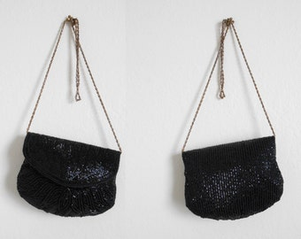80s, 90s vintage bag - black beaded bag black beaded clutch - 80s/90s Secret Liaison bag