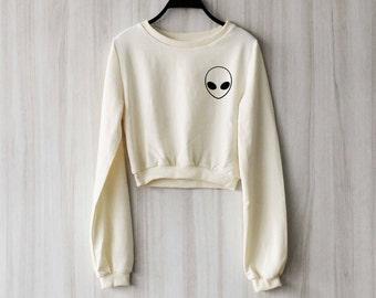 Alien Crop Top Sweatshirt Sweater Jumper Pullover Shirt – Size S M L
