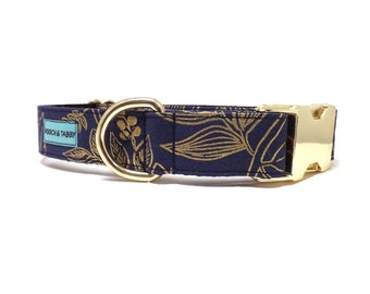 Golden Meadow Dog Collar | Available in 4 widths | Metallic Gold Floral Collar