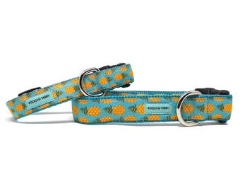"Pineapple Dog Collar | 3/4"" or 1"" Summer Fruit Collar for Small to Large Dogs"